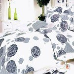 White Gray Marbles - 100% Cotton 3PC Duvet Cover Set (Twin Size)